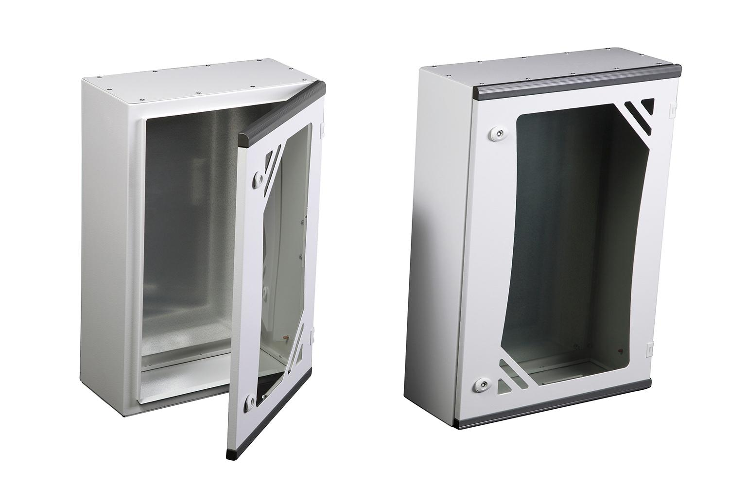 ARES Series WALL MOUNTED ENCLOSURES - GLAZED DOOR, WITH MOUNTING PLATE